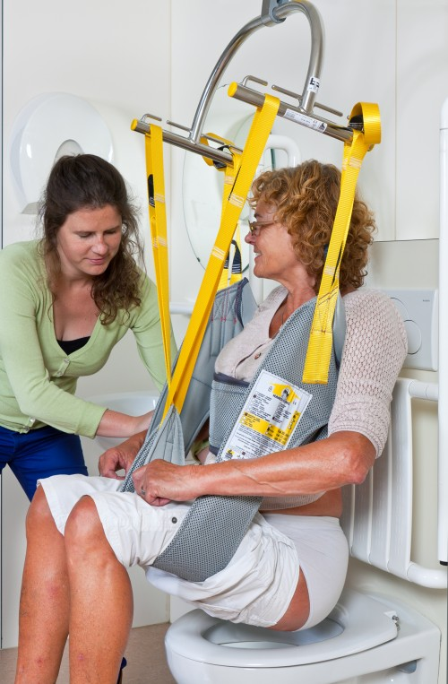 SureHands -  - To the toilet with the assistance of a caregiver. - Standard spreader bar , Mobile lift 1640 , Hygiene sling