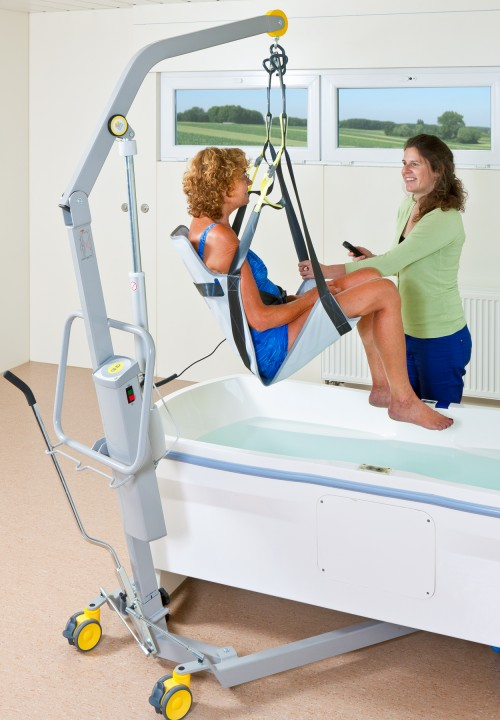SureHands - Access to the tub - Bath seat - enjoy your bath in comfort - Classic spreader bar , Mobile lift 1640 , Seat sling PVC