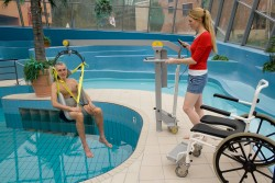 Classic spreader bar , Wheelchair-to-Water™ Pool Lift , Bathing sling with head support